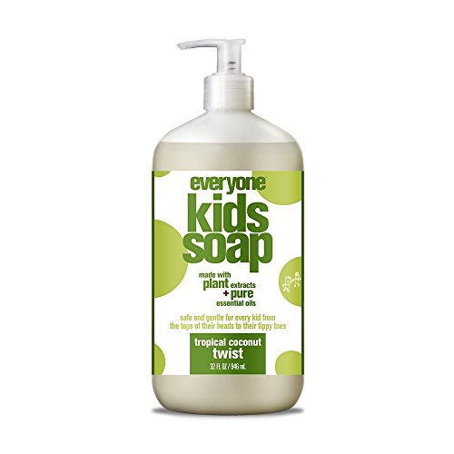 Everyone 3-in-1 Soap for Every Kid Safe, Gentle and Natural Shampoo, Body Wash, and Bubble Bath, Tropical Coconut Twist, 6 Count