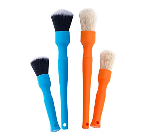 DETAIL FACTORY (4-Pack) Boar's Hair Brushes + Fine Detailing Brushes Set [The Rag Company Special Edition]