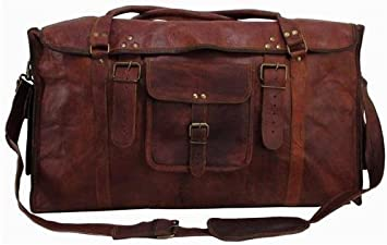 Men/'s Leather HLC  Vintage Duffle Luggage Weekend Gym Overnight Travel Bag