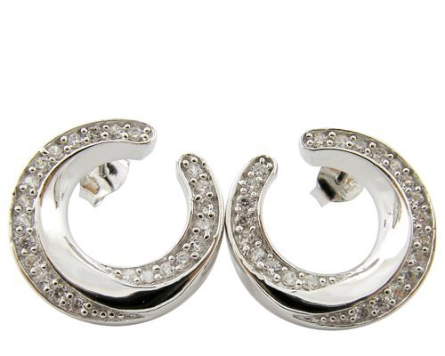 925 Silver White Cubic Zirconia Sterling Jewelry Stud (Colored Contact Lenses For Halloween)