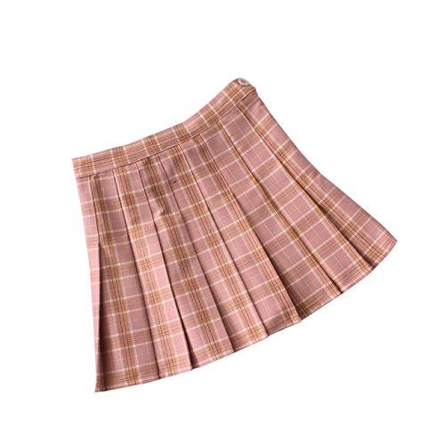Skirt Elastic Woven Waist (DAZCOS US Size Plaid Skirt High Waist Japan School Girl Uniform Skirts (Women XXXL, Pink))