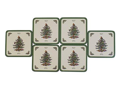 (SET OF 6 SPODE CHRISTMAS TREE DESIGN CORK BACKED COASTERS 10.5 X 10.5 X)