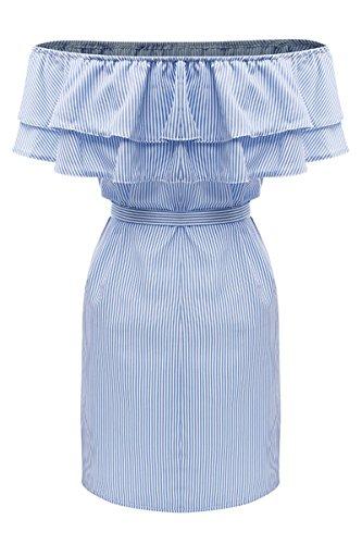 Dressesau Hors Courte Occasionnels Sheleau Robes Bleu Des paule Volants Mini Bustier Ray Femmes BAxTqUwzn
