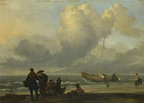 Oil Painting 'Ludolf Bakhuizen A Beach Scene With Fishermen