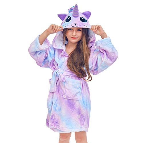 Robe Fleece Girls - Basumee Kids Robe Unicorn Bathrobe Hooded Robe Sleepwear Boys Girls Fleece Robe