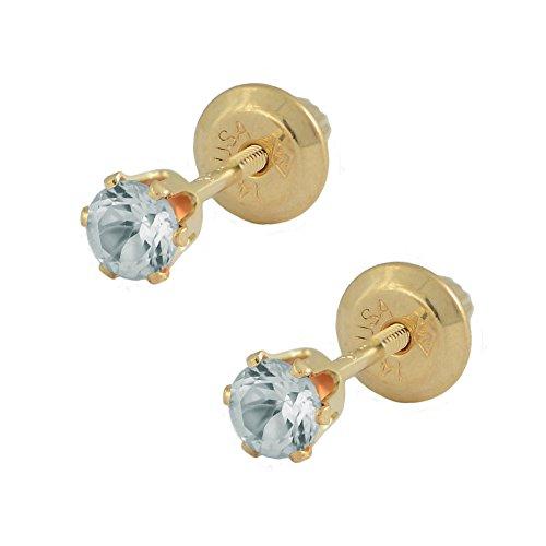 14K Yellow Gold Genuine March Birthstone Aquamarine Girls Earrings