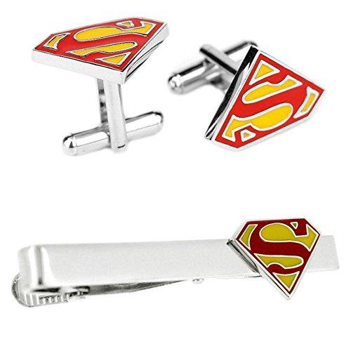 - Outlander DC Comics - Superman Cufflink & Tiebar - Set of 2 Wedding Superhero Logo w/Gift Box