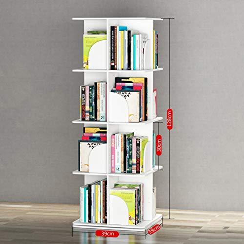 NingNing NN Bookshelf - Wooden, 360-degree Rotating Bookshelf, Small Bookshelf, Children's Bookshelf, Floor-Standing Display Rack Storage Rack - White Storage Shelf (Size : 39x39x128cm) ()