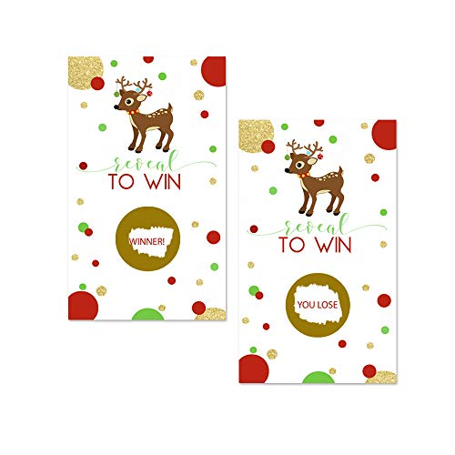 Holiday Party Games For Adults (Christmas Reindeer Scratch Off Party Game Card (28)
