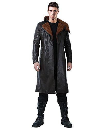 Cosplay.fm Men's Officer K Replicant Cosplay Costume Faux Shearling Trench Coat Jacket (XL) -