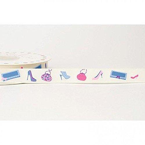 (16mm Reel Chic Shoes Print Grosgrain Ribbon Antique White - per metre)