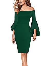 Womens Flare Sleeve Sexy Off Shoulder Cocktail Party Bodycon Dress