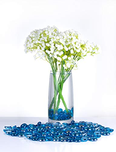 Joyclub Royal Blue Flat Marbles, Pebbles, Glass Gems for Vase Fillers, Party Table Scatter, Wedding, Decoration, Aquarium Decor, Crystal Rocks, 1 lbs (Approx 100 pcs) (Blue Vases For Marbles)