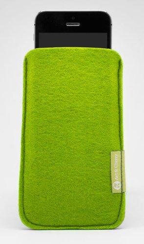 Apple Iphone 5 + 5S Fleece Handytasche Handyhülle Hülle grün