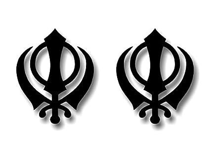 Amazon 2 Black Sikhism Khanda Religious Symbol Decal Sticker