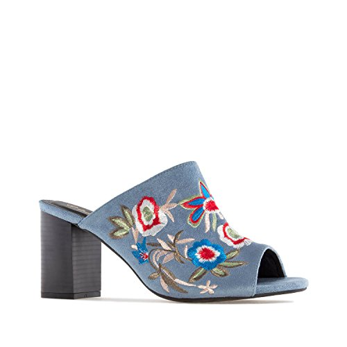 Andres Machado AM5251 Embroidered Blue Suede Mules.Petite&Large Sizes: UK 0.5 to 2.5/EU 32 to 35 - UK 8 to 10.5/EU 42 to 45. Embroidered Blue Suede uumVYMwh
