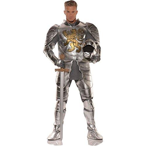 Pizzaz! Men's Knight's Tale Deluxe Costume, Silver/Gold, Standard