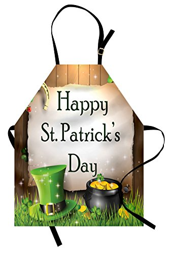 Ambesonne St. Patrick`s Day Apron, Happy Celebration with Text on Wooden Planks Gold and Hat Irish Tradition, Unisex Kitchen Bib Apron with Adjustable Neck for Cooking Baking Gardening, Multicolor