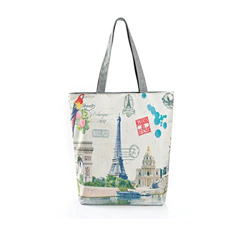 FXTXYMX Vintage Paris Tower with Butterfly print Canvas Tote Bag Shoulder Handbag for Women Girls Single Shopping Bag Beach Bag Top-Handle Bags Bolsa (Paris Tower 2) (Tote Print Vintage)