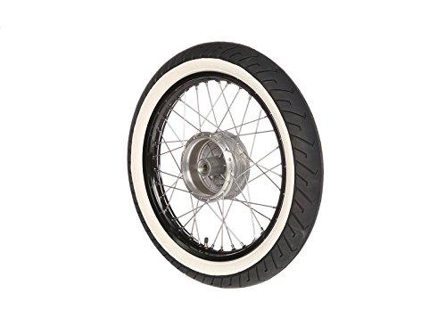 Komplettrad - VORNE - 1,5x16 Zoll - Alufelge schwarz eloxiert und poliert, Edelstahlspeichen - MITAS-Weiß wandreifen MC2 montiert MZA Meyer-Zweiradtechnik GmbH