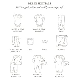 Burt\'s Bees Baby - Set of 5 Bee Essentials Short Sleeve Bodysuits, 100% Organic Cotton, Heather Grey Prints (0-3 Months)