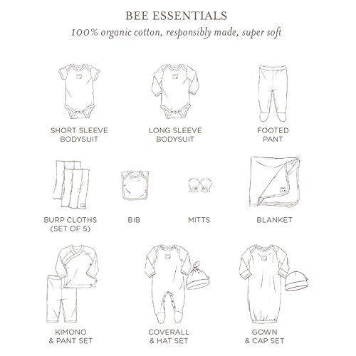 Burt's Bees Baby - Set of 5 Bee Essentials Short Sleeve Bodysuits, 100% Organic Cotton, Heather Grey Prints (0-3 Months)