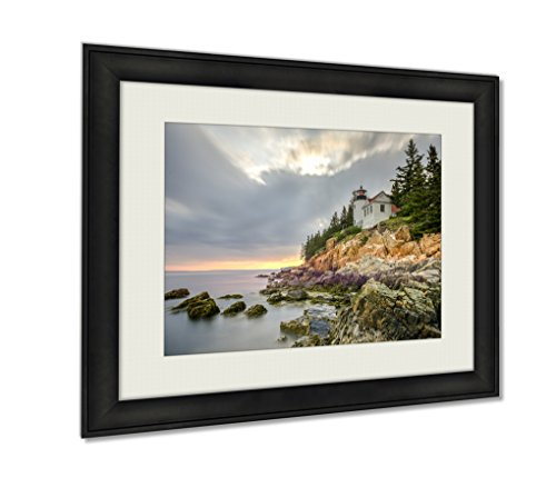 Ashley Framed Prints, Bass Harbor Head Light Acadia National Park Maine, Wall Art Decor Giclee Photo Print In Black Wood Frame, Ready to hang, 20x25 Art, AG6253024