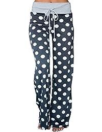 Women's Comfy Casual Pajama Pants Floral Print Drawstring Palazzo Lounge Pants Wide Leg