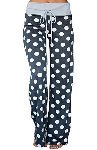 AMiERY Womens High Waisted Pants Stretch Sleep Polka Dot Juniors Pants Pajamas Wide Leg Pants Joggers Lounge Palazzo Pants Blue Grey XXL (Flannel Pj Pants For Juniors)