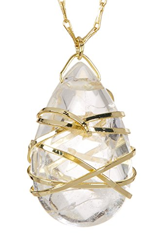 Crystal Quartz Hand Wrapped Long Pendant Wholesale Gemstone Necklace