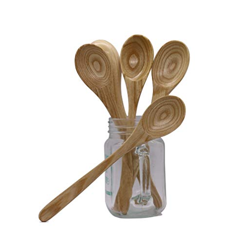VIET GLOBAL Set of 3 Wooden Spoons for Cooking, Eating - Wood Soup Spoons for Cooking Eating Mixing Stirring, Long Handle Spoon with Style Kitchen Utensil, Eco Friendly Table Spoon