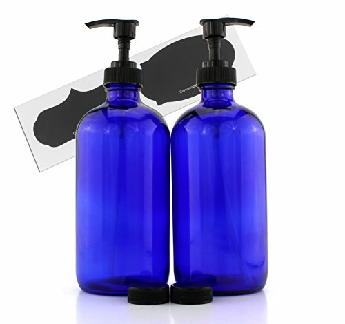 Cornucopia Brands 16-Ounce Cobalt Blue Glass Bottles w/Lotion Pump Dispensers (2-Pack); Refillable Liquid Soap Pump Bottles + Chalk Labels & Lids, BPA-Free Plastic Tops (Cobalt Blue Bathroom)