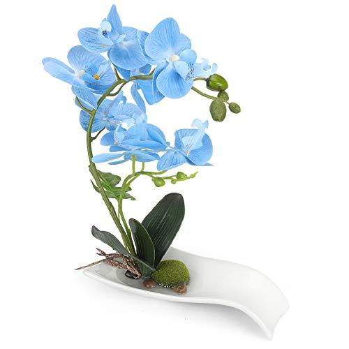 YOBANSA Orchid Bonsai Artificial Flowers with Imitation Porcelain Flower Pots Phalaenopsis Fake Flowers Arrangements for Home Decoration (Blue01) (Orchids Imitation)