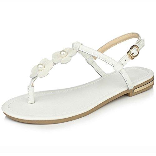 COOLCEPT Mujer Moda Correa de Tobillo Sandalias Talon Abierto Plano Zapatos con Flor Blanco