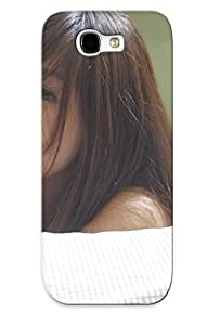 Tpu Fashionable Design Woman Girl Beauty Nice Face Lying Down Asian Brunee Bed Rugged Case Cover For Galaxy Note 2 / Appearance
