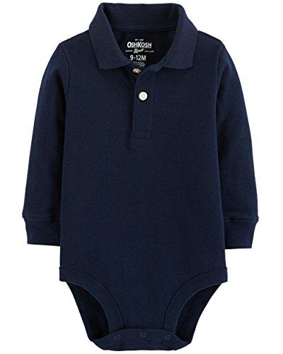 (OshKosh B'Gosh Baby Boys' Long Sleeve Pique Polo Bodysuit (Classic Navy, 12-18 Months) )
