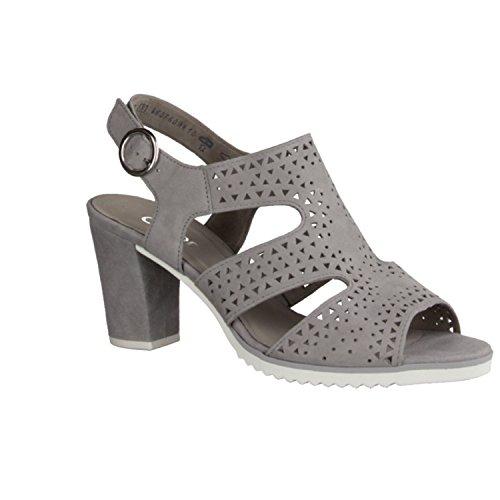 Gabor 41742-19 - Zapatos De Mujer Sandalias De Tacón Alto / Honda, Gris, cuero (samtchevreau), altura de tacón: 60 mm