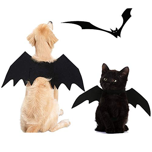 FLAdorepet Halloween Pet Dog Bat Wings Cat Bat Costume for Large Dog Golden Retriever (L, Black)
