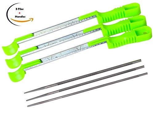 UNIDRIFT - Juego de limas afiladoras para motosierra (3/16, 7/32, 5/32 pulgadas, redondas, con dos asas antideslizantes a...