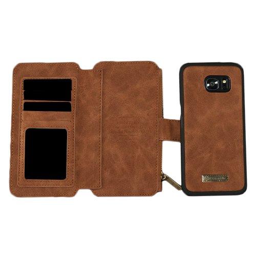 E8Q de lujo de cuero tarjeta extraíble tirón de la carpeta Caso de la cubierta para Samsung Galaxy S7 marrón