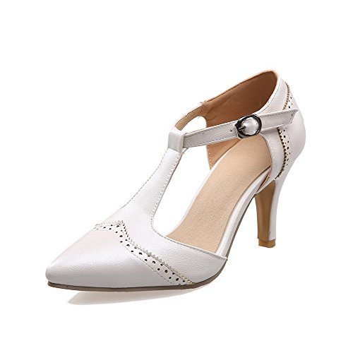 AmoonyFashion Womens Pointed Closed Toe High Heels Buckle Solid Pumps Shoes Beige Mbd5OWwK7
