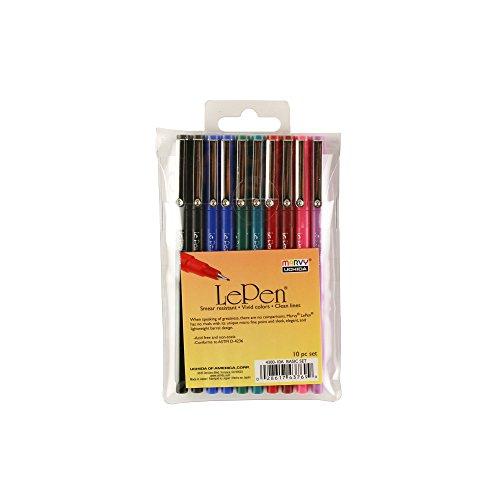 - UCHIDA 430010A, Le Pen, 0.3 Millimeter Point, Pen Set, 10 Pack, Multicolor