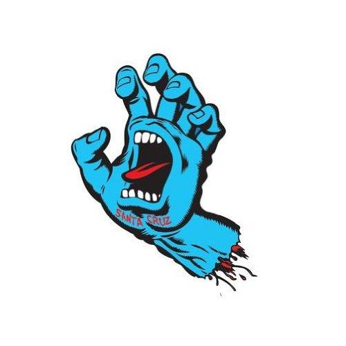 Santa Cruz Screaming Hand Skateboard Sticker in Blue - Jim Phillips Design 8cm NEW (Stickers Cruz Santa)