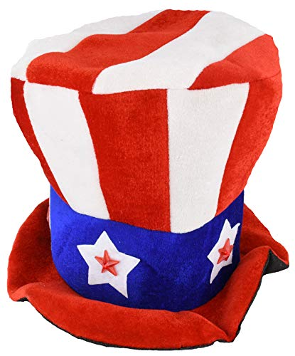 Uncle Sam Flashing Patriotic Hat with LED Lights for 4th of July Party Favors USA Stars and Stripes American Flag Parties Red White Blue Independence Day Accessories ()