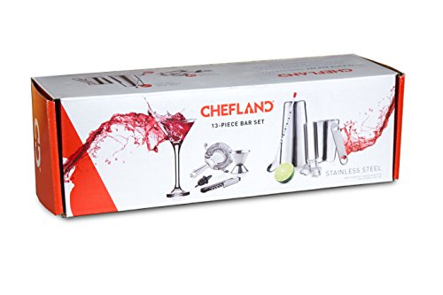 ChefLand 13 Piece Stainless Steel Bar Set/Professional Bar Tools Including Shaker/Jigger/Corkscrew/Speed Opener/Strainer
