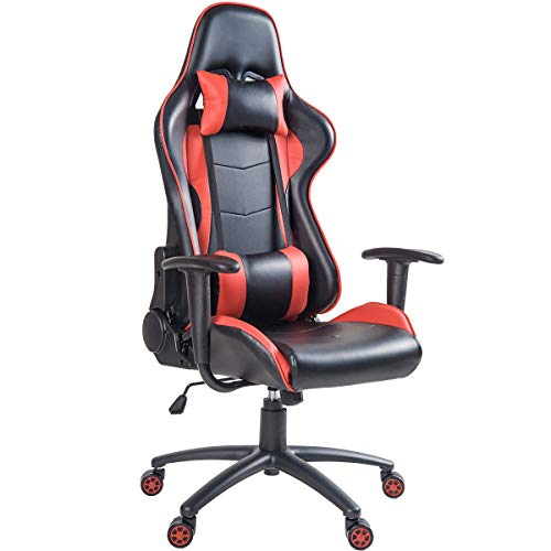 MIERES Video Gaming Chair Racing Office-PU Leather High Back Ergonomic 170 Degree Adjustable Swivel Executive Computer Desk Task Large Size with Footrest,Headrest and Lumbar Support (Red)