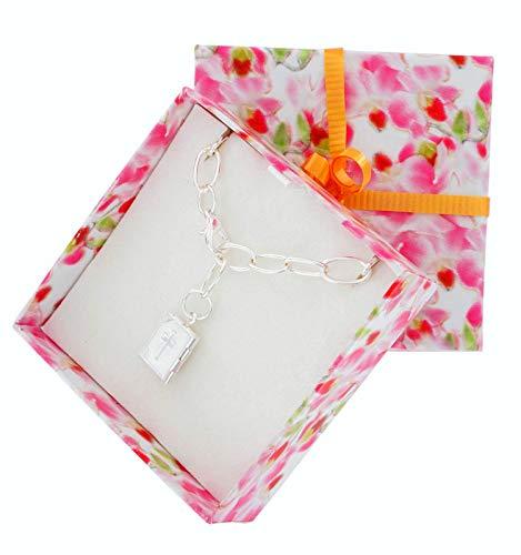 (Adjustable Length Fashion Bracelet for Women Silver Tone Locket Bible Charm Communion Confirmation Gift Boxed)