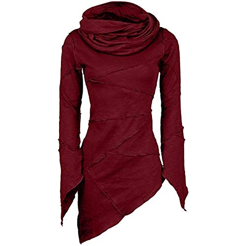 Price comparison product image TIFENNY Women's Roll-Neck Fashion Pullover Slim Solid Turtleneck Scarf Collar Asymmetric Sleeves Skew Hem Tops Wine