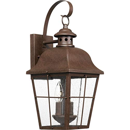 - Quoizel MHE8409CU Millhouse Seedy Glass Outdoor Wall Sconce Lighting, 2-Light, 120 Watts, Copper Bronze (19