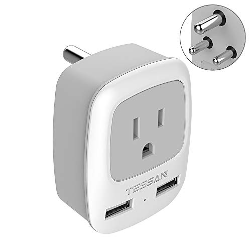 US to India power adapter,TESSAN International Grounded Travel Plug Adapter with Dual USB &1 American Sockets Power outlet adapter for Type D Country